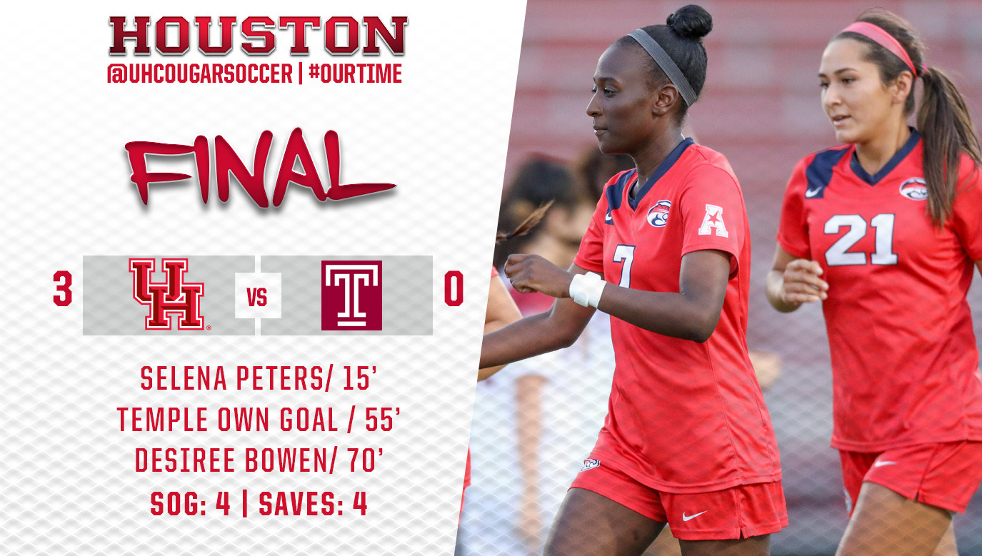 22cfaf8c6ca ... Selena Peters each scored to help the University of Houston Soccer team  notch their first win in conference play this season, shutting out Temple  3-0, ...