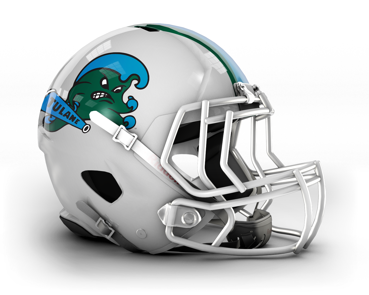 This image has an empty alt attribute; its file name is Tulane_Angry_Wave_Helmet.png
